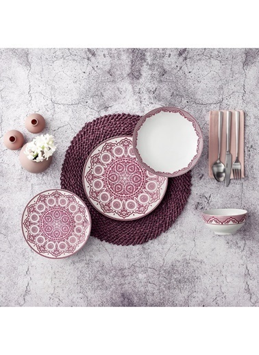 Güral Porselen Desenli Yemek Takımı Seti 24 Prç.6 Kişilik 5510 Renkli